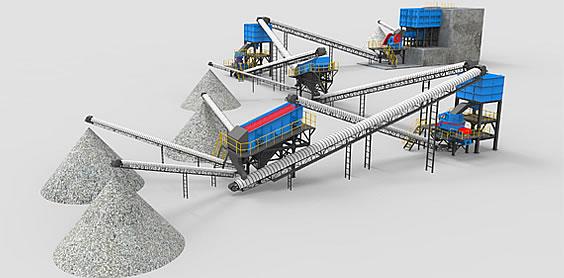 366.net亚洲必赢重工破碎机-高速公路应用领域-砂石骨料生产线工艺示意图