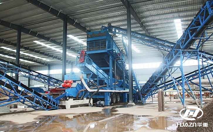 时产150吨鹅卵石移动破碎生产线在宜阳开机
